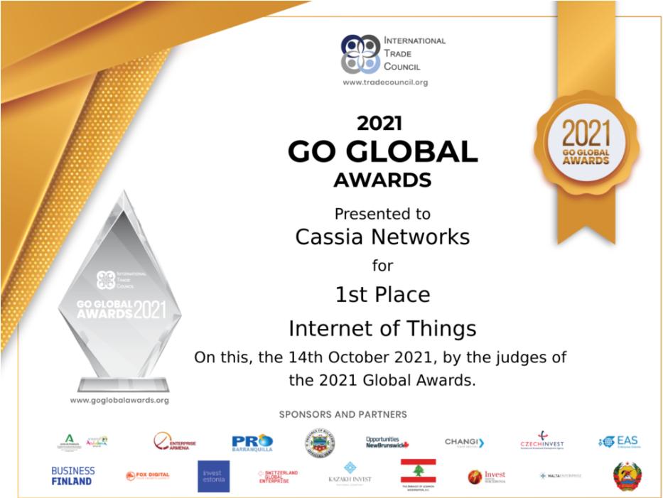 """桂花网(Cassia Networks)荣获国际贸易理事会""""2021 Go Global Awards""""物联网类金奖"""